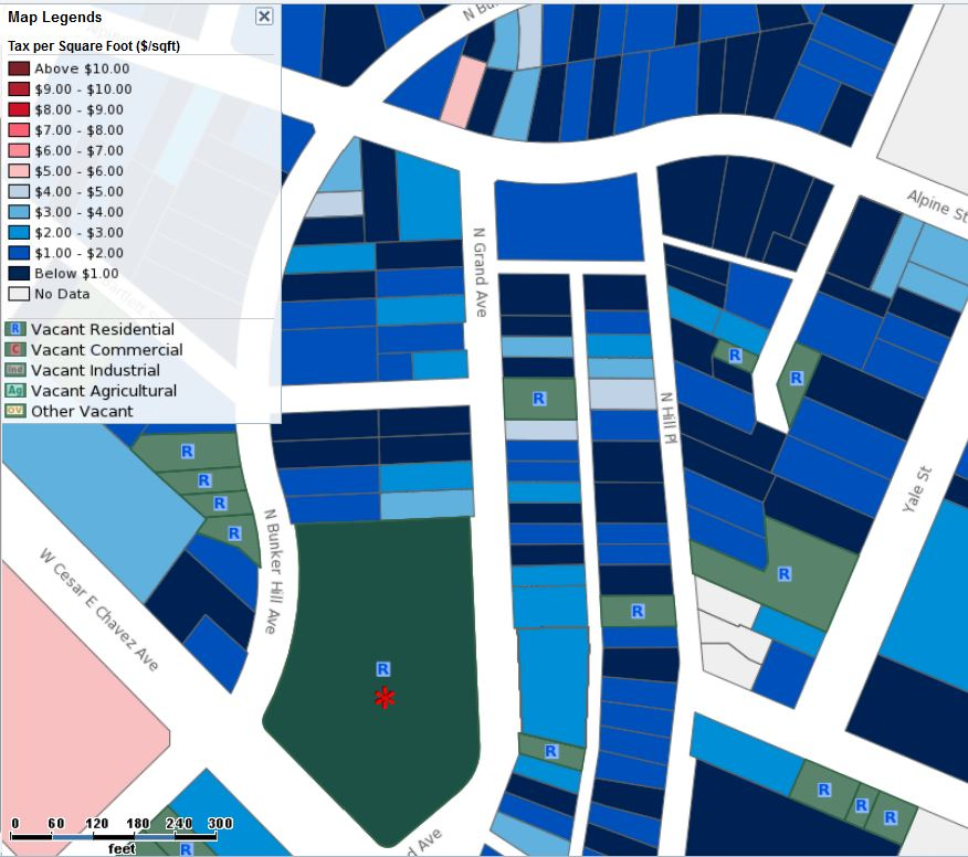 Tax Value per Square Foot with Vacant Lots overlay