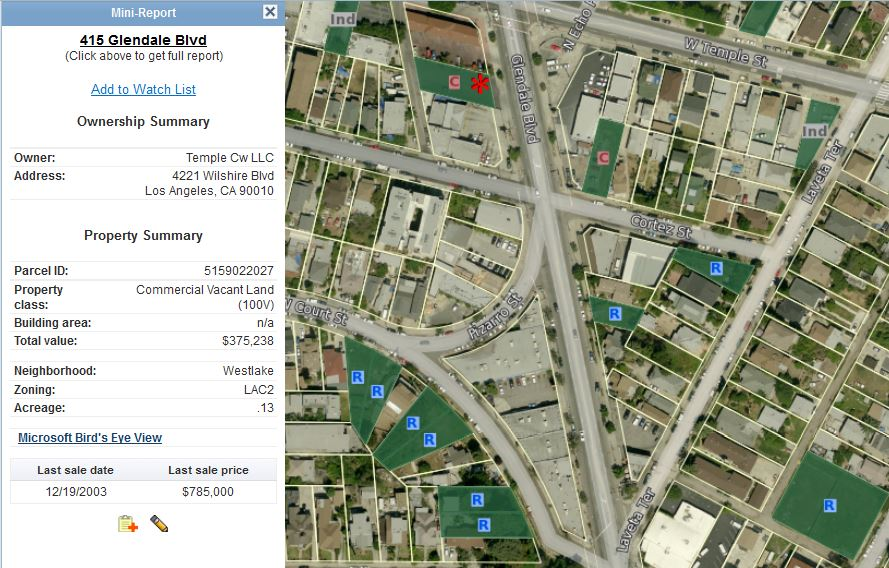 Vacant lots map with mini property report